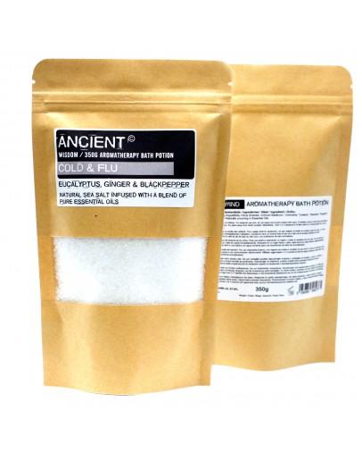 Sare de Baie Aromatherapy - Cold & Flu, cu aromă de Eucalipt, Ghimbir și Piper Negru, 350g