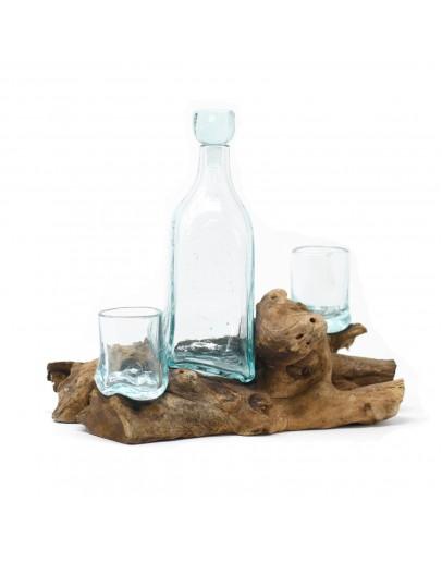 Sticlă Topită pe Lemn - Set de Whisky